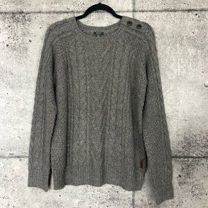 Roots // Grey Cable Knit Sweater